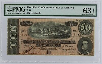 PMG T-68 1864 CSA Richmond VA $10 63 EPQ Civil War Era US Old Paper Currency CU