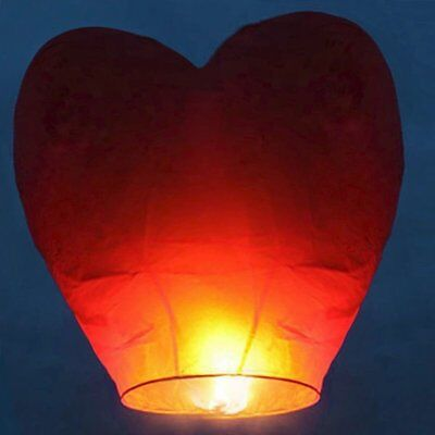 Red Heart Shape Kongming Sky Flying Wishing Lantern Chinese Paper Candle Wedding