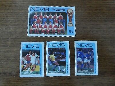4 x Stamps - Nevis - Football World Cup Mexico 1986