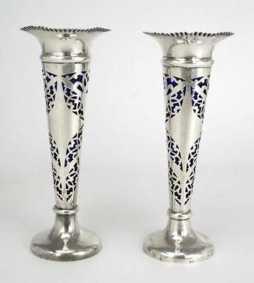 Edwardian sterling silver pair trumpet vases blue glass inserts Walker and Hall