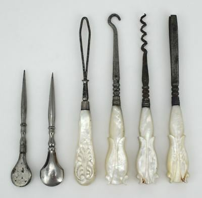 Antique four piece embroidery tools craft sewing mother of pearl