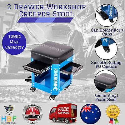 2 Drawer Mechanics Creeper Stool Garage Seat Tools With Casters -  Electric Blue