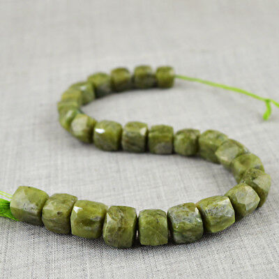 365.00 Cts / 10 Inches Earth Mined Drilled Green Garnet Faceted Beads Strand