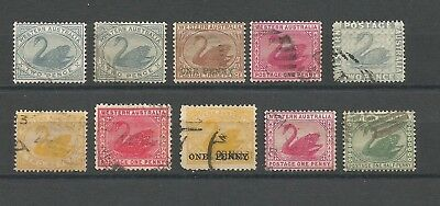B4/54  SELECTION of WEST AUSTRALIAN SWAN STAMPS used