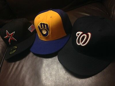 B6 Lot Of 3 Authentic New Era Fitted Hat Cap VTG Astros Brewers Nationals 7 1/4