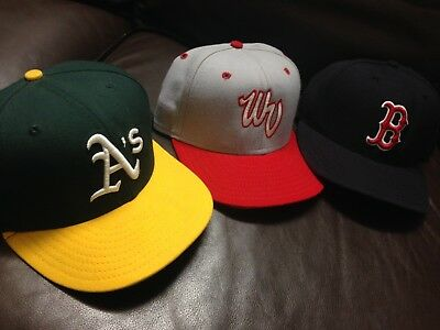 B7 Lot Of 3 Authentic New Era Fitted Hat Cap VTG Athletics Boston Red Sox 7 1/4