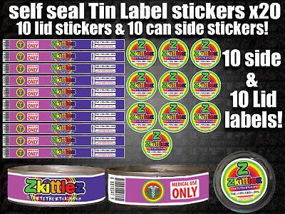 10x RX Medical ZKITTLEZ Cali pressitin Tin Labels Stickers CALI HIGH QUALITY