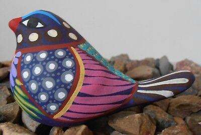 Handpainted clay Bird DOVE Figurine accessory pottery ornament Mexican folk art