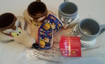 Lot of 4 Vintage Looney Tunes Mugs Cups 2 Bugs Bunny & 2 Wile E Coyote UnUsed