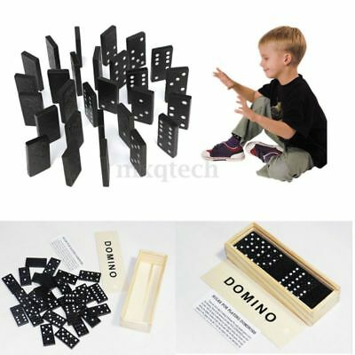 Popular 28X Domino Game Play Set Fun Board Game Party Kid w/Toy Wooden Box Black