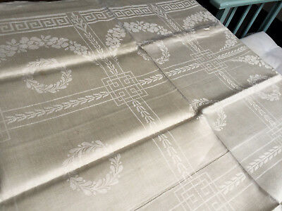 Leinen Damast Tafeltuch - Jugendstil - 160/128cm- Tischdecke -Antique tablecloth