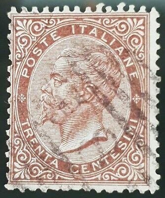 Italy 1863 to 1877 Sg # 13 Used HR 30c Stamp CV £ 21.00 Lot #2