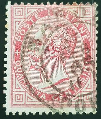 Italy 1863 to 1877 Sc # 31 Used HR 40c Carmine Stamp