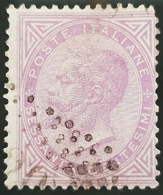 Italy 1863 to 1877 Sc # 32 Used HR 60c Lilac Stamp