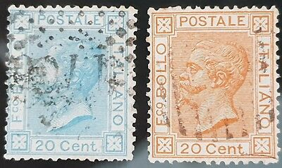 Italy 1867 to 1877 Sc # 35 an Sc # 36 20c Blue and Orange Used HR 10c Stamps