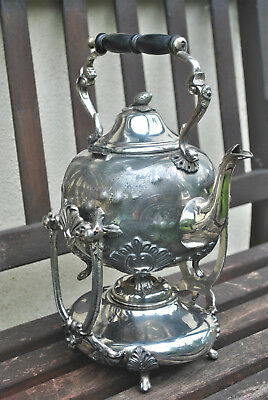 Highly Ornate Antique Teapot on Tilting Stand. Intricate Patterning EP Victorian
