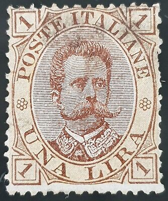 Italy 1889 Sg # 42 Used HR 1 Lira Stamp CV £ 21.00 Lot #2