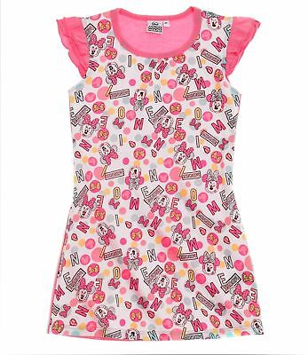 Girls Kids Official Minnie Mouse Pink / White Short Sleeve Night Nightdress PJs