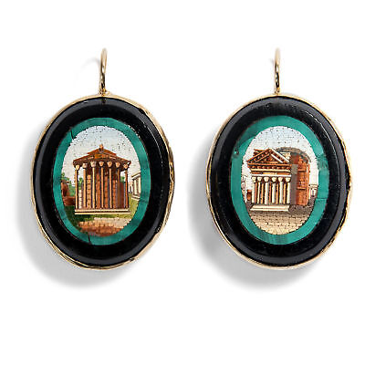 Grand Tour: Micro Mosaic Stud Earring, Roman Glass & Gold Rome