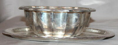 Vintage Silverplated Sauce Boat Bowl With Tray