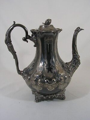 Antique Victorian Ornate Silver Plated Coffee Pot Bacchanalian Spout R.pringle