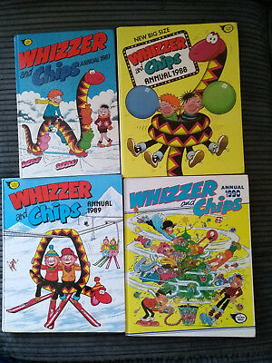 Run Of 4 Years Of Nostalgic Whizzer And Chips Annuals G Cond 1987 1988 1989 1990