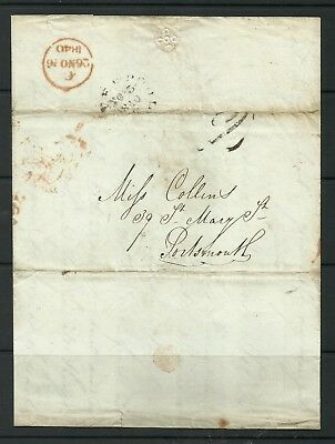 Pre-Stamp Entire Liverpool to Portsmouth with 2 mileage Mark with 2 letters.