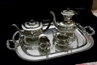 Cheltenham Sheffield silver plate tea service and tray