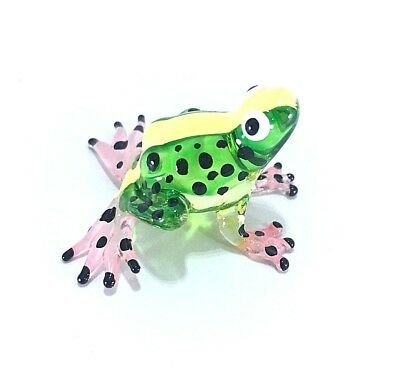 Miniature Hand Blown Glass Frog Green Collectible Art Animal Figurine Amphibians