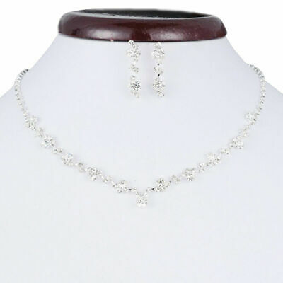 Casual Bridesmaid Crystal Necklace Earrings Set Wedding Bridal Jewellery Gift.