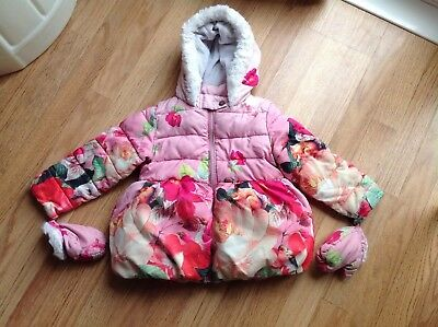 Ted Baker Girls Pink Winter Coat Age 4-5 Well Worn