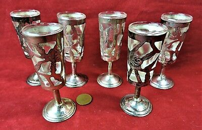 Sterling over Glass Shot Glasses or Cordial set of 6