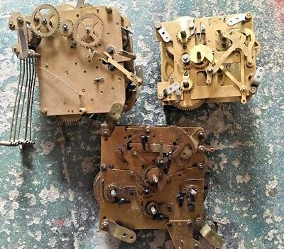 3 x Mechanical Clock Movements for spares or repairs