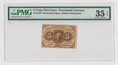 United States 5 Cent First Issue Fractional Currency PMG Graded 35 Choice V Fine
