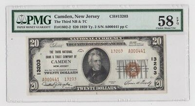 1929 US $20 National Currency Note Camden NJ PMG Graded 58 Choice Abt. Unc. EPQ