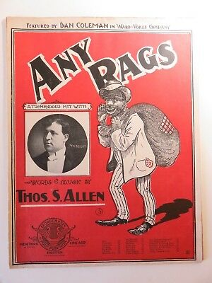 Collectible Any Rags Colorful Vintage 1902 Sheet Music