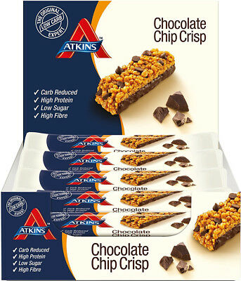 ATKINS Chocolate Chip Crisp Low Carb High Protein Snack Bar 15 x 30g *BRAND NEW*