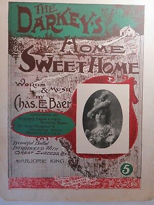 Collectible The Darkey's Home Sweet Home Sheet Music