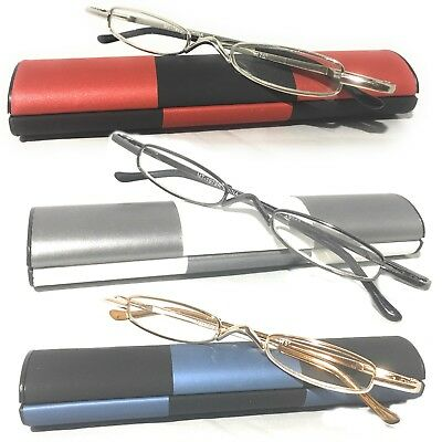 faba5054605 Men Women Small Reading Glasses + Hard Case Clear Pen Tube Readers  Eyeglasses