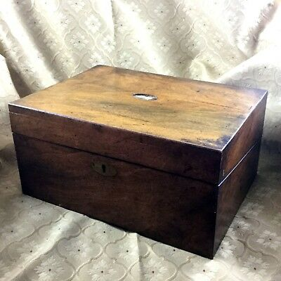 Antique Wooden Box Chest Writing Slope For restoration 19th Century