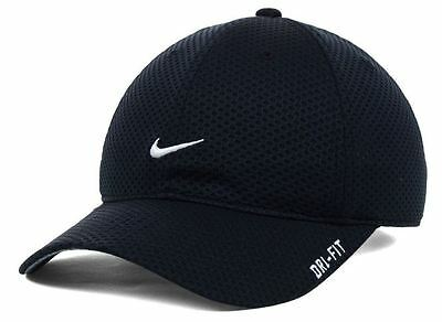 bdbe8942a9 NIKE DRI-FIT TAILWIND Golf Running Tennis Black Cap Hat RARE Item NWT
