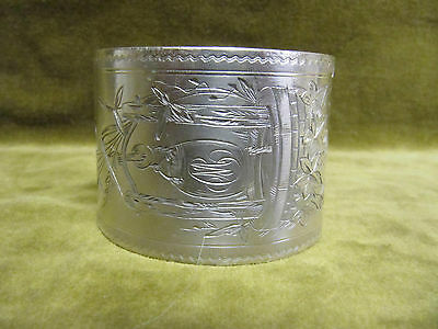 Rare 1900 french sterling silver napkin ring well & bucket art nouveau