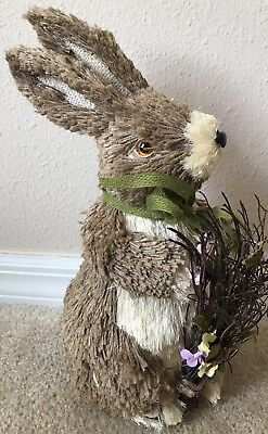 PIER 1 NATURAL BUNNY Brown Easter Spring Rabbit Sisal Green Bow