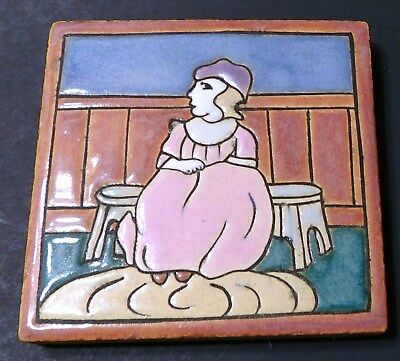 "4"" Antique AETCO Nursery Rhyme Tile Girl Sewing Curly Locks"