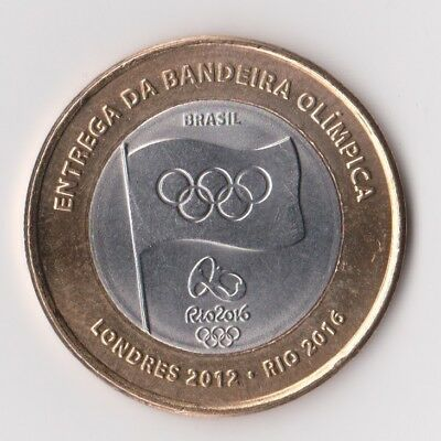 Rare 1 Real Coin 2012 - Olympic Flag Rio 2016 - Brazil