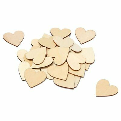 3X(50 Pieces Christmas Blank Wood Heart Wood Heart Slices for Wedding B8D4
