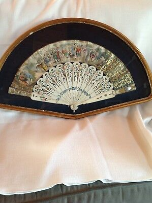ANTIQUE 19c EUROPEAN HAND PAINTED FAN FRAMED IN SHADOW BOX VERY GOOD CONDITION