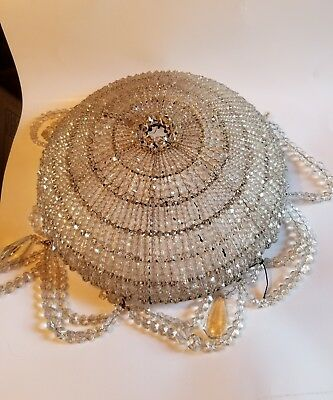 Antique Crystal Beaded Flush Mount  Chandelier Ceiling Fixture Shade bowl