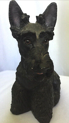 "VTG 12"" Black Scottie Scottish Terrior Dog Glass Eyes Statue Doorstop Figure USA"