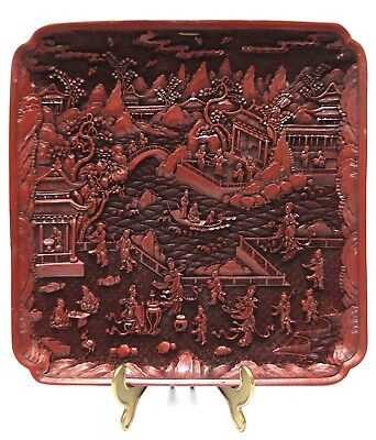 traumhaftes altes China Rotlack Tablett Tray signiert Rotlack Schnitzerei